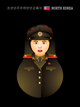 Matryoshkas of the World: North Korean girl in military uniform