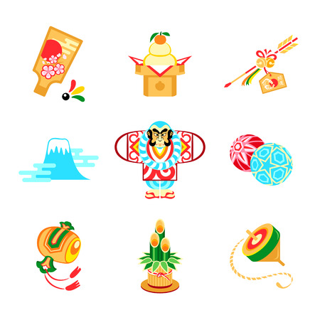 talismán: Japón Año Nuevo juguetes, adornos y símbolos Vectores