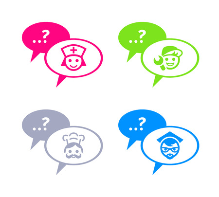 Icons for online chat with doctor, service man, chef and teacher Vector