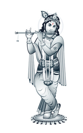 krishna: Hindu young god Krishna playing on flute Illustration