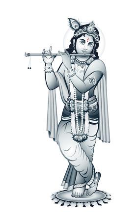 indian god: Hindu young god Krishna playing on flute Illustration