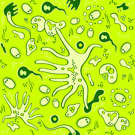 protozoan: Microbes and bacteria in Petri dish seamless pattern