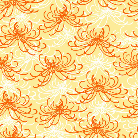 Seamless rangiku disordered chrysantemum pattern Vector