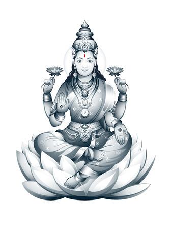 hindu goddess: Hindu Goddess Lakshmi of wealth, prosperity, fortune, and the embodiment of beauty Illustration