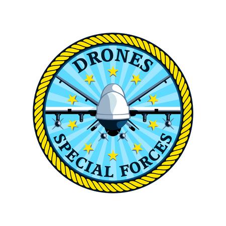 drones: Badge per le future forze speciali droni isolati Vettoriali