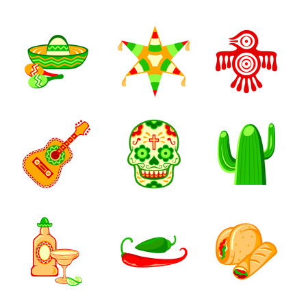 Colorful culture symbols, food and objects of Mexico Illustration
