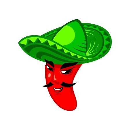 ソンブレロの帽子のメキシコ唐辛子男