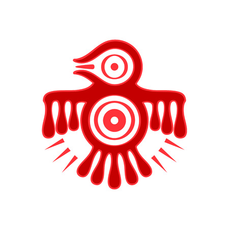 Aztec spirit bird red symbol isolated Illustration