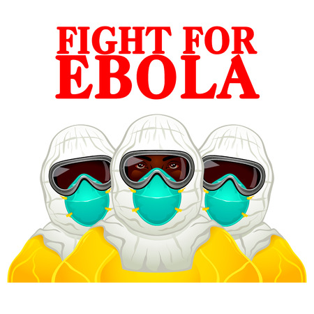 decease: African health workers in Ebola-protective uniform