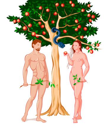 Eva Adán dando el fruto prohibido en el jardín de Edén Ilustración de vector