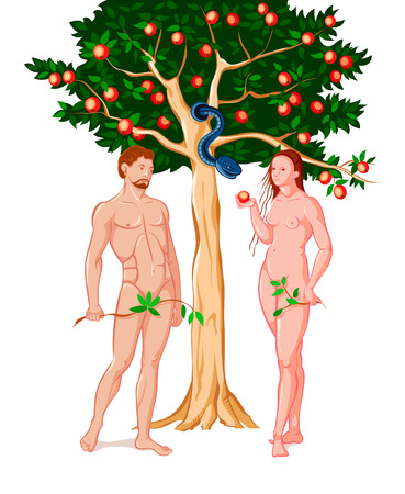 Eve giving Adam the forbidden fruit at the Eden garden Illustration