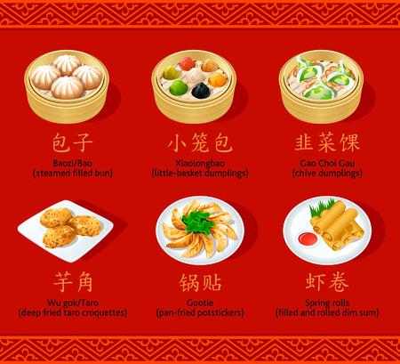 chinesisch essen: Chinesische gedämpfte, gebratene und rollte Knödel Symbole