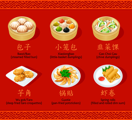 buns: Chinos iconos dumplings al vapor, fritos, laminación