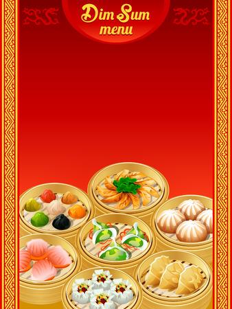 Template for chinese Dim Sum dumplings menu