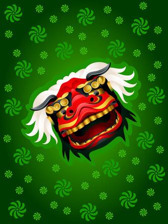 Lion mask over green festival pattern