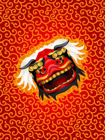 chinatown: Lion mask over red karakusa festival pattern Illustration