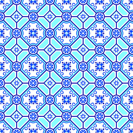 dutch tiles: Pottery classic blue seamless pattern