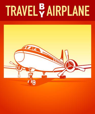 avia: Travel by airplane orange retro poster