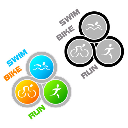 Color and colorless symbol for triathlon Vector