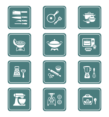 food preparation: Modern professional utensils for cooking teal icon-set Illustration