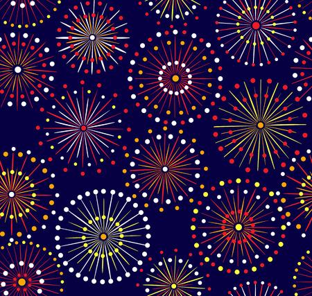 日本の祭りのシームレスな夜花火パターン  イラスト・ベクター素材