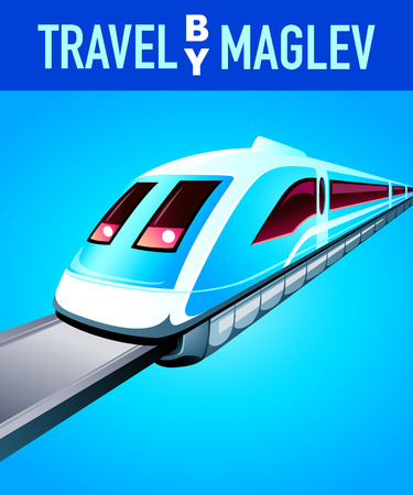 levitation: Travel by maglev blue modern poster Illustration