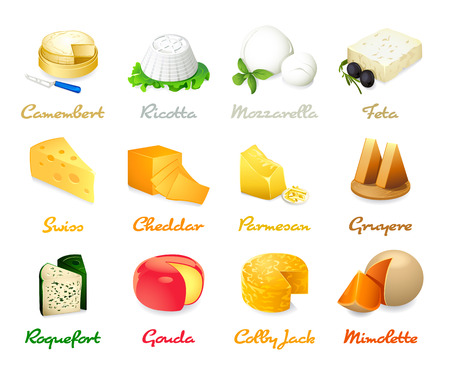 cheese plate: Most popular kind of cheese icons isolated