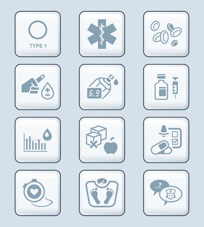 diabetes: Diabetes gris vida de la salud en iconos conjunto Vectores
