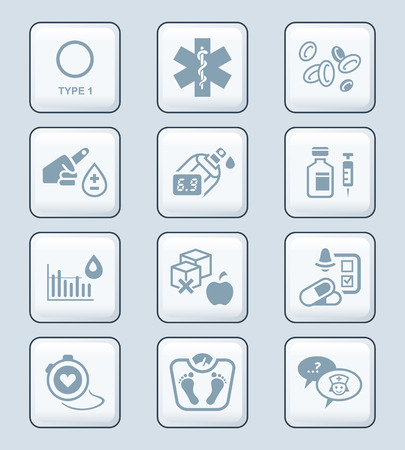 diabetes syringe: Diabetes health-care life gray icon-set Illustration
