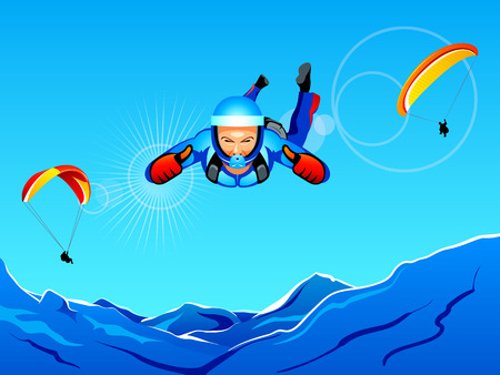 skydiving: Sun-lighted mountain sky-diving and paragliding Illustration
