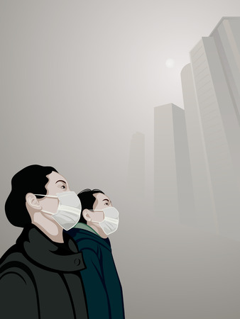 contaminacion aire: Las mujeres que usan máscara boca contra la contaminación del aire en la niebla Vectores