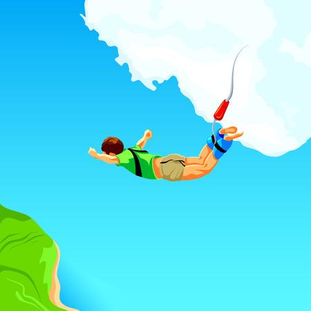 gente saltando: Caída libre desde el cielo en la cuerda de bungee