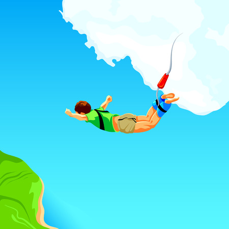 Free fall from the sky on bungee rope Illustration