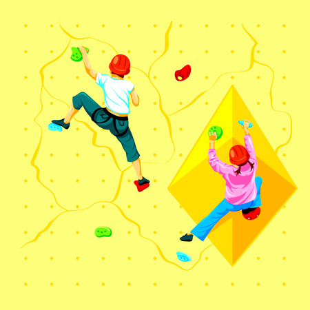 indoors: Boy and girl climbing a rock wall