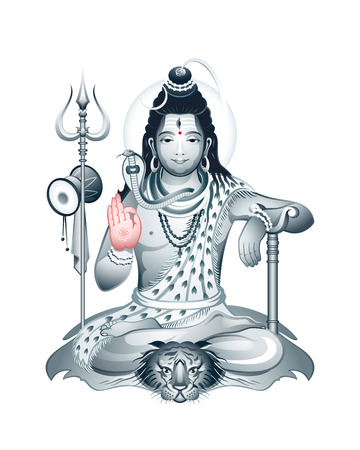 third eye: Indian Supreme God Shiva sitting in meditation Illustration