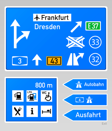 autobahn: Typical autobahn signs in Germany