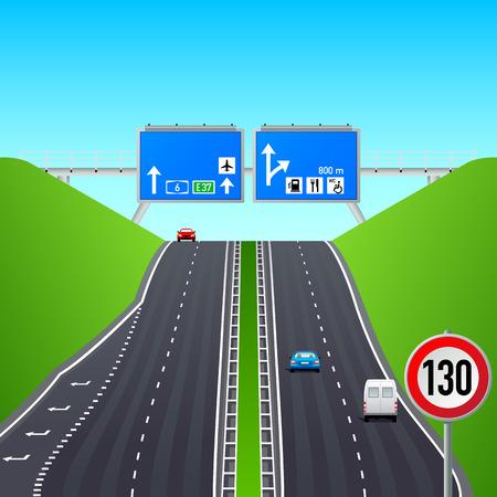 Autobahn weg, tekens, auto's en constructies