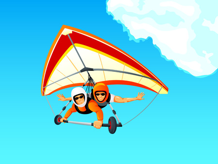 glider: Cheerful hang gliding tandem flying in sky