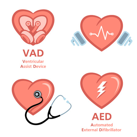 assist: Artificial heart, defibrillator and heart care symbols Illustration