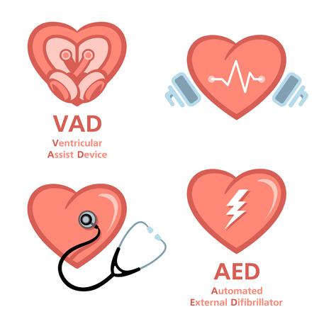Artificial heart, defibrillator and heart care symbols Illustration