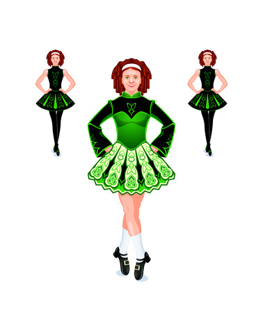 Cheerful and beautiful female Irish dancers