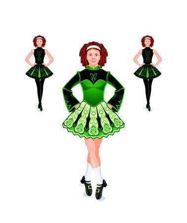 Vrolijke en mooie vrouwelijke Ierse dansers