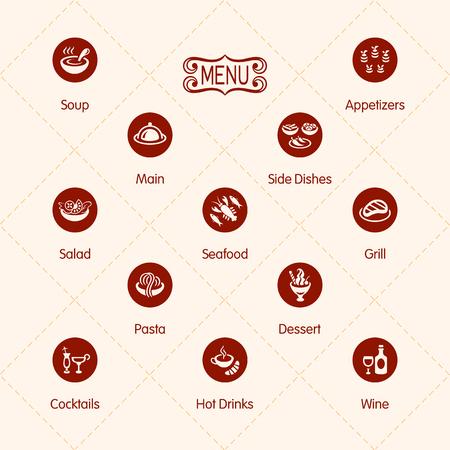 main dishes: Iconos del men� del restaurante Classic aislados