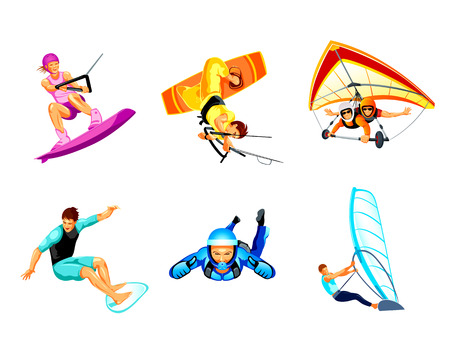 fly: Air and water extreme sport activity icons Illustration