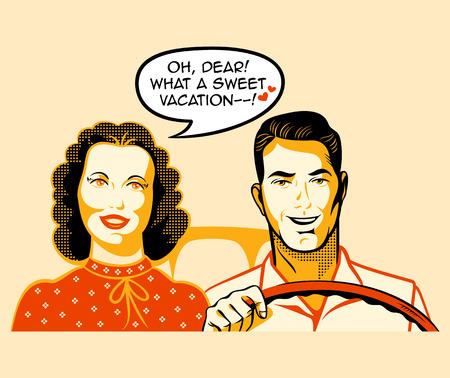 exited: Happy retro couple is enjoying a car ride Illustration