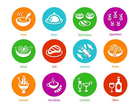 main dishes: Classic restaurant menu icons METRO-style