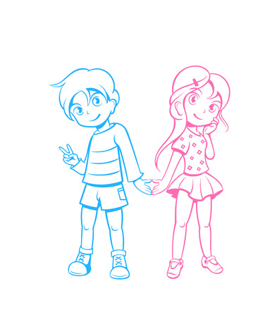 kids holding hands: Cute boy and girl in love in anime style