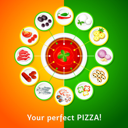 Colorful toppings for perfect pizza choice