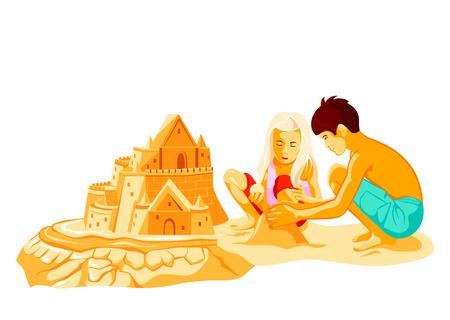 chateau de sable: Gar�on et fille construire grand ch�teau de sable sur la plage