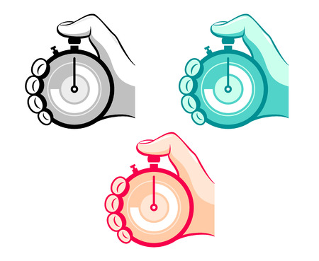 timescale: Colorful stopwatch in hand icons isolated